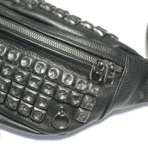 旅行用カバン / ENDURE JAMスタッズショルダーバッグ S メンズ レザー ブラック ウエストポーチ ボディバック シンプル
