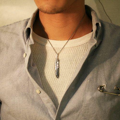 フェザー&ダイヤモンドネックレス M