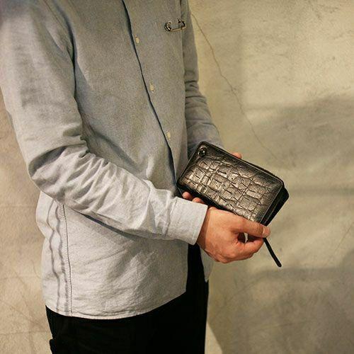 長財布 / ジャムニマルファスナーロングウォレット メンズ ブランド 人気 おすすめ 使い始め レザー/革 ブラック お手入れ クロコダイル オーストリッチ 高級感 プレゼント ギフト 誕生日 誕生石 ウォレットチェーン