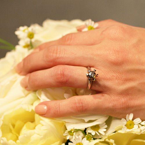 セミファイナルブラックダイヤモンドクラシックリング / 婚約指輪・エンゲージリング