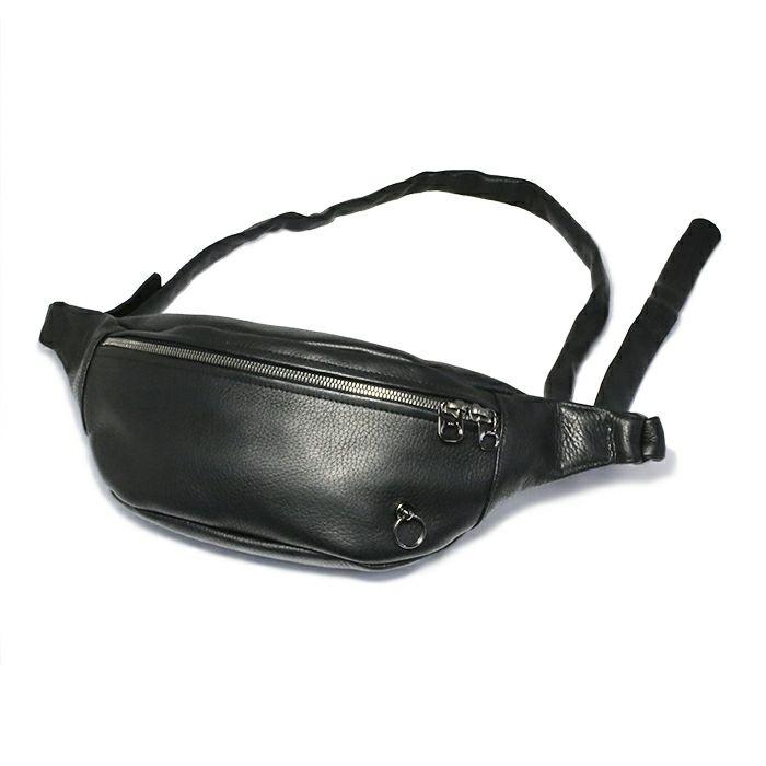 【JAM HOME MADE(ジャムホームメイド)】ENDURE ショルダーバッグ S メンズ レザー ブラック ウエストポーチ ボディバック シンプル