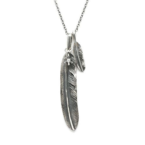 ネックレス / ダブルフェザー&ダイヤモンドネックレス メンズ レディース ペア シルバー 人気 おすすめ ブランド 925 ダイヤモンド モダン ネイティブ プレゼント