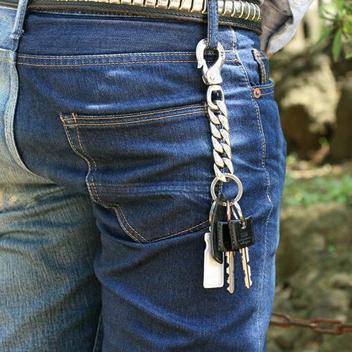 小物 / クラシックキーチェーン メンズ ブランド 人気 シルバー 925 ウォレット/財布 チェーン シンプル パンク ロック パンツ デニム