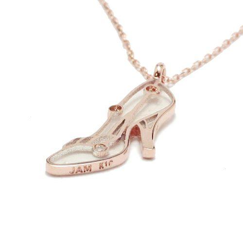 """【JAM HOME MADE(ジャムホームメイド)】シンデレラ - """"Cinderella"""" ガラスの靴ダイヤモンドネックレス レディース ピンク ゴールド チェーン 細身 人気 おすすめ ブランド ディズニー プリンセス プレゼント"""