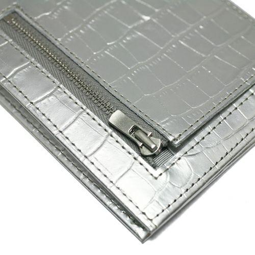 二つ折り財布 / 'sensitive' ミディアムウォレット -Silver (Croco Emboss)-