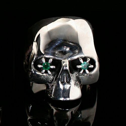 指輪 / NUMBER(N)INE/ナンバーナイン スカルリング STONE EYES -EMERALD- メンズ シルバー 925 人気 ブランド おすすめ コラボ 復刻 ドクロガイコツ