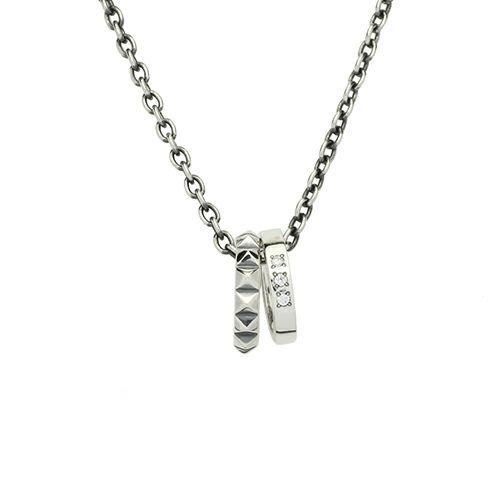 ネックレス / スタッズダブルラブベビーリングネックレス M メンズ シルバー ペア ダイヤモンド 人気 おすすめ ブランド プレゼント クリスマス