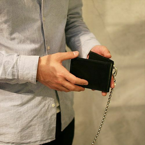 【JAM HOME MADE(ジャムホームメイド)】10月 誕生石 トルマリン ミディアムウォレット -LaVish- / 二つ折り財布 メンズ ブランド 人気 おすすめ 牛革 ブラック ヌメ革 シンプル カード たくさん入る ギフト 誕生日 機能性 ビジネス ウォレットチェーン