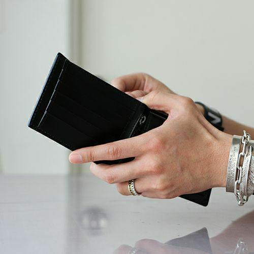 二つ折り財布 / 8月 誕生石 ペリドット ミディアムウォレット -LaVish- メンズ ブランド 人気 おすすめ 牛革 ブラック ヌメ革 シンプル カード たくさん入る ギフト 誕生日 機能性 ビジネス ウォレットチェーン