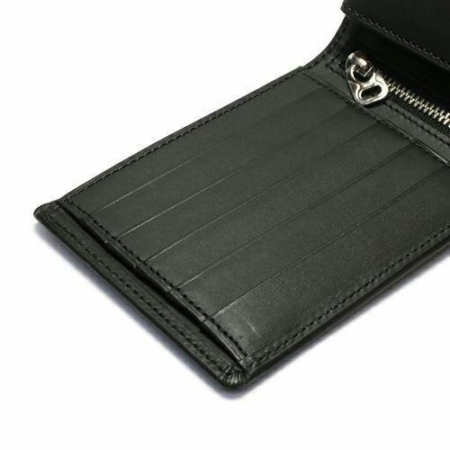 二つ折り財布 / 3月 誕生石 アクアマリン ファスナーミディアムウォレット -LaVish- メンズ ブランド 人気 おすすめ 牛革 ブラック ヌメ革 シンプル カード たくさん入る ギフト 誕生日 機能性 ビジネス ウォレットチェーン