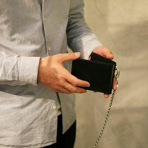 二つ折り財布 / 4月 誕生石 ダイヤモンド ミディアムウォレット -LaVish- メンズ ブランド 人気 おすすめ 牛革 ブラック ヌメ革 シンプル カード たくさん入る ギフト 誕生日 機能性 ビジネス ウォレットチェーン