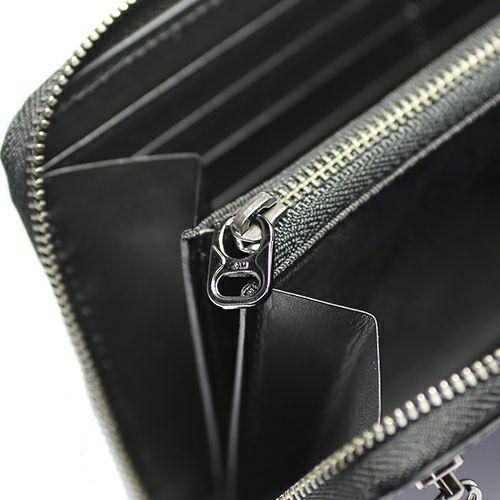 長財布 / 1月 誕生石 ガーネット ファスナーロングウォレット -LaVish- メンズ ユニセックス ブランド 人気 おすすめ 使い始め 牛革 ブラック ヌメ革 シンプル プレゼント ギフト 誕生日 機能性 ウォレットチェーン