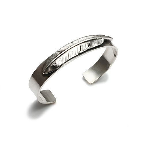 ブレスレット / ダイヤモンドフェザーバングル メンズ シルバー 925 ネイティブ 平打ち シンプル 太め おすすめ