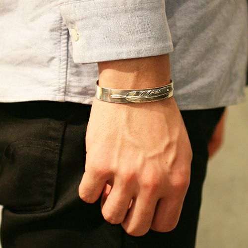 【JAM HOME MADE(ジャムホームメイド)】ダイヤモンドフェザーバングル メンズ シルバー 925 ネイティブ 平打ち シンプル 太め おすすめ