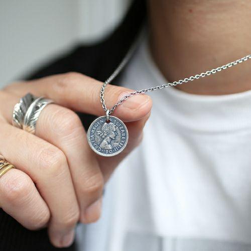 ネックレス / シックスペンスコインネックレス メンズ シルバー 人気 ブランド おすすめ 硬貨 本物 プレゼント 誕生日