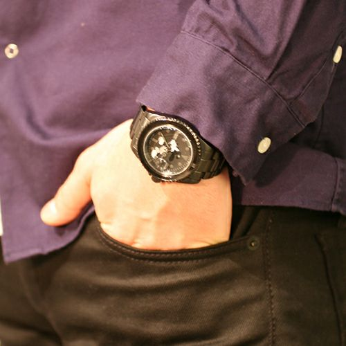 """【JAM HOME MADE(ジャムホームメイド)】NUMBER(N)INE/ナンバーナイン ミッキー""""MICKEY"""" ウォッチ TYPE-B N(N) / 腕時計 メンズ レディース ユニセックス 色 ブラック ダイヤモンド ディズニー ミッキー アナログ クォーツ モノクロ コラボ"""