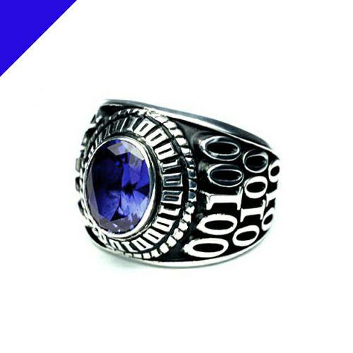 指輪 / 9月 誕生石 0010ハイブリッドカレッジリング M メンズ シルバー 人気 おすすめ ブランド スクールリング 本場 アメリカ 職人 ハンドメイド
