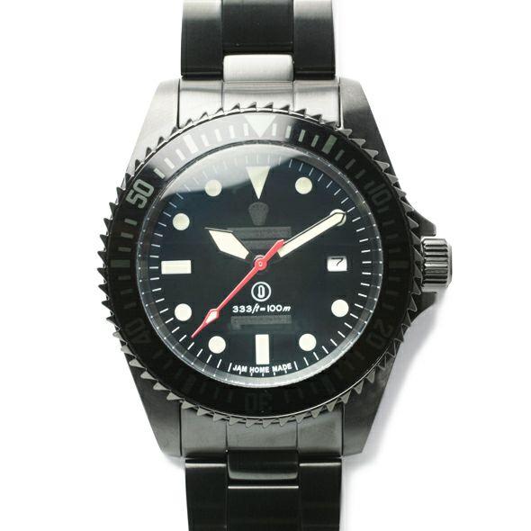 腕時計 / ジャムダイヤモンドウォッチ TYPE M -BLACK-  メンズ ブラック ダイヤモンド クォーツ 10気圧 アナログ 日付表示 ミリタリー マリン 生活防水 20mm
