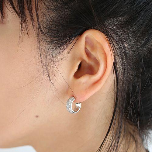 ラウンドダイヤモンドスターピアス -SILVER- / 片耳