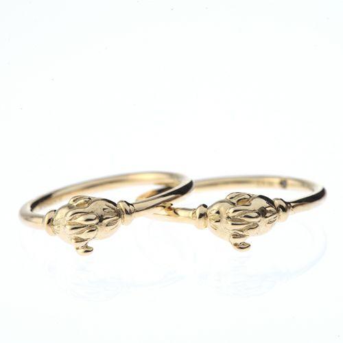 """ミッキー&ミニー """"MICKEY & MINNIE"""" シェイクハンドエンンゲージリング S -K18 YG- / 結婚指輪・マリッジリング"""
