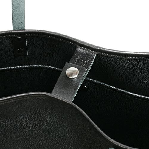 旅行用カバン / ブラックライドバーティカルトートバッグ メンズ レディース ユニセックス レザー ブラック 肩掛け シンプル