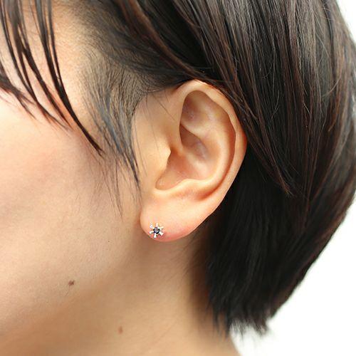 クラシックブラックダイヤモンドピアス -SILVER- / 片耳