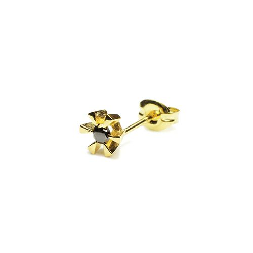 ピアス / クラシックブラックダイヤモンドピアス -GOLD- メンズ レディース ゴールド 925 片耳 シンプル 人気 おすすめ ブランド プレゼント 誕生日 ギフト