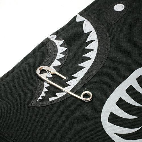【JAM HOME MADE(ジャムホームメイド)】アベイシングエイプ/A BATHING APE ABC SHARK FULL ZIP HOODIE(シャーク フルファスナー パーカー) -MONO- メンズ レディース ユニセックス ブラック モノ サイズ 安全ピン BAPE ベイプ