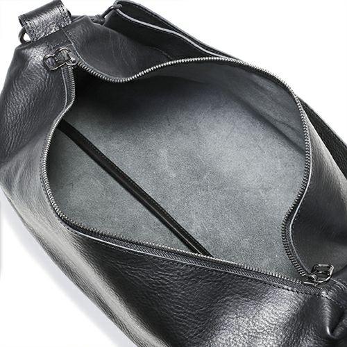 旅行用カバン / アリゾナレザーショルダーバッグ L -BLACK- メンズ レディース ユニセックス 革 イタリアンレザー 肩掛け ボディバック 旅行 艶