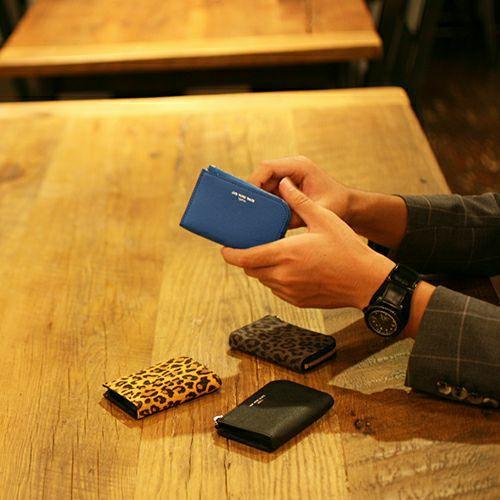 【ジャムホームメイド(JAMHOMEMADE)】L字ファスナー ミニ財布 SOモデルウォレット - ブルー