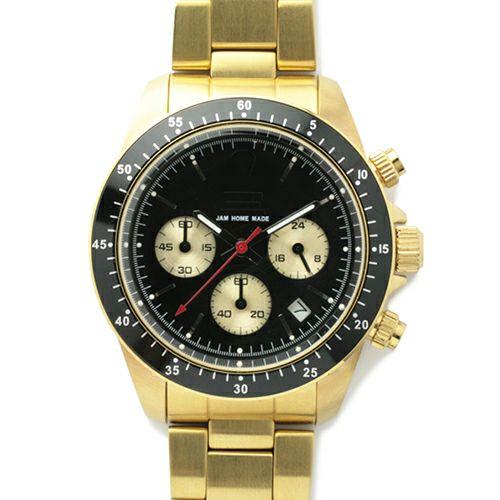 【JAM HOME MADE(ジャムホームメイド)】ダイヤモンドジャムウォッチ TYPE C -GOLD- / 腕時計 メンズ 色 ゴールド クロノグラフ クォーツ 10気圧 生活防水 20mm