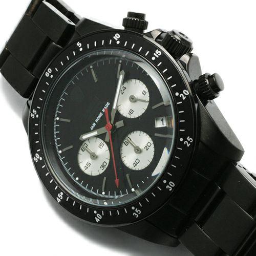 腕時計 / ダイヤモンドジャムウォッチ TYPE C -BLACK- メンズ 色 ブラック クロノグラフ クォーツ 10気圧 生活防水 20mm