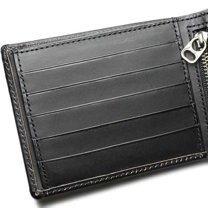 二つ折り財布 / 12月 誕生石 タンザナイトパンチングミディアムウォレット -LaVish- メンズ 革 ブラック 人気 おすすめ ブランド 使い始め ヌメ革 シンプル プレゼント ギフト 誕生日 機能性 ウォレットチェーン