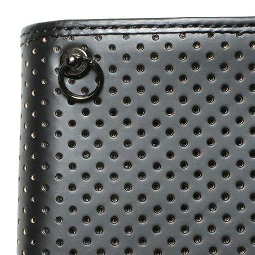 二つ折り財布 / 8月 誕生石 ペリドット パンチングミディアムウォレット -LaVish- メンズ 革 ブラック 人気 おすすめ ブランド 使い始め ヌメ革 シンプル プレゼント ギフト 誕生日 機能性 ウォレットチェーン