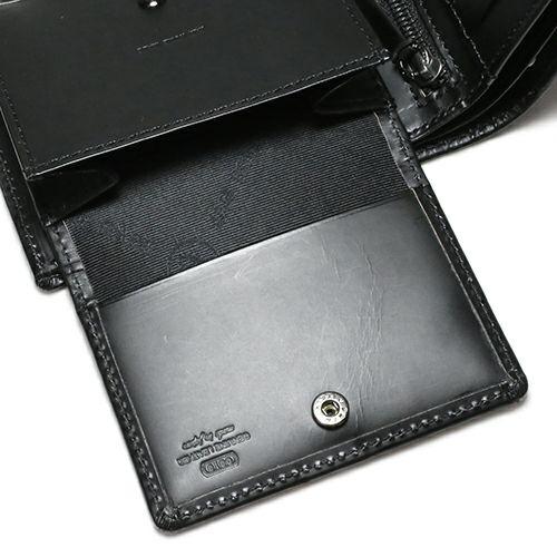 二つ折り財布 / 7月 誕生石 ルビー パンチングミディアムウォレット -LaVish- メンズ 革 ブラック 人気 おすすめ ブランド 使い始め ヌメ革 シンプル プレゼント ギフト 誕生日 機能性 ウォレットチェーン