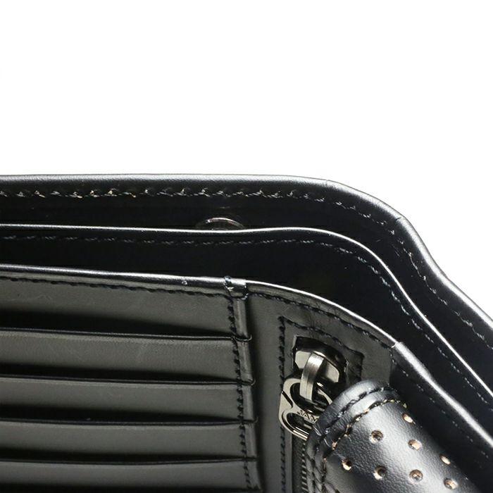 【JAM HOME MADE(ジャムホームメイド)】4月 誕生石 ダイヤモンド パンチングミディアムウォレット -LaVish- / 二つ折り財布 メンズ 革 ブラック 人気 おすすめ ブランド 使い始め ヌメ革 シンプル プレゼント ギフト 誕生日 機能性 ウォレットチェーン