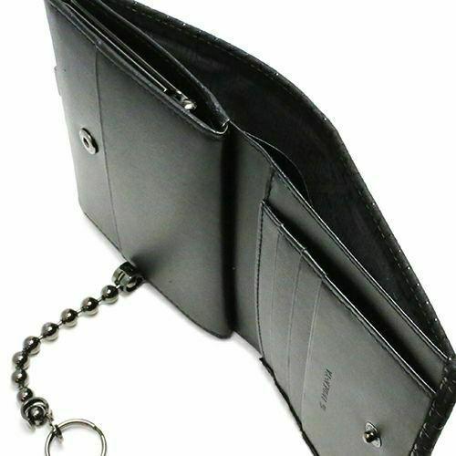 二つ折り財布 / NUMBER(N)INE×印傳屋(印伝屋) ミディアムウォレット・がま札財布 -BLACK&BLACK- メンズ レディース ユニセックス レザー チェーン付き ウォレットチェーン 上原勇七 プレゼント ギフト 大容量