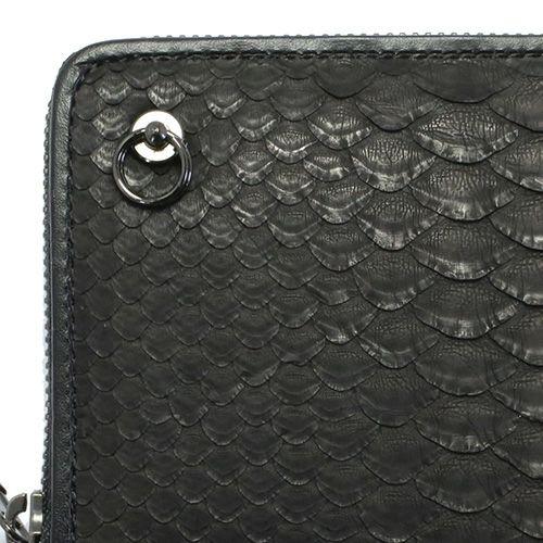 リアルパイソンファスナーロングウォレット -BLACK- / 長財布