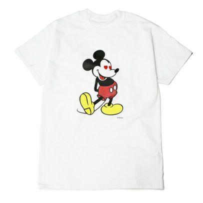 """衣料品トップス / ミッキー """"MICKEY"""" Tシャツ ラブ ミッキー / -WHITE×LAME- メンズ レディース ユニセックス ホワイト ラメ ペア オーバーサイズ ハート DISNEY/ディズニー"""