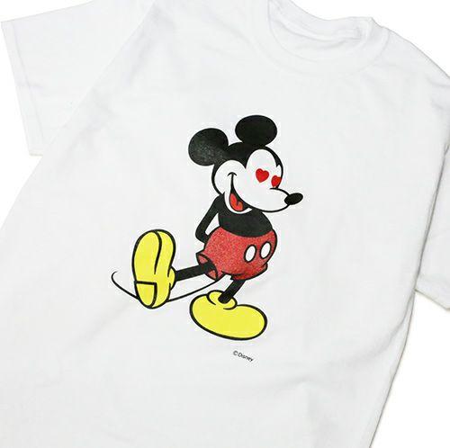 """【JAM HOME MADE(ジャムホームメイド)】ミッキー """"MICKEY"""" Tシャツ ラブ ミッキー / -WHITE×LAME- メンズ レディース ユニセックス ホワイト ラメ ペア オーバーサイズ ハート DISNEY/ディズニー"""