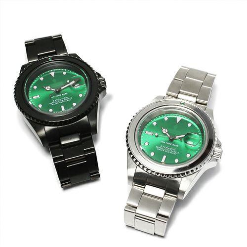 腕時計 / エメラルドジャムウォッチ -SILVER- メンズ 色 シルバー エメラルド 誕生石 5月 クォーツ 10気圧 アナログ 日付表示 生活防水 20mm