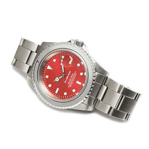 腕時計 / ルビージャムウォッチ -SILVER- メンズ 色 シルバー ルビー 誕生石 7月 クォーツ 10気圧 アナログ 日付表示 生活防水 20mm