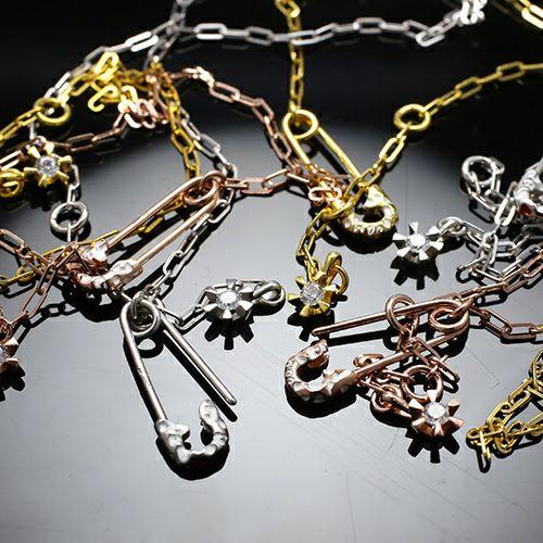 ネックレス / セーフティピンネックレス LEOPARD -PINK×WHITE- レディース シルバー ゴールド チェーン ヒョウ柄 シンプル 人気 ブランド おすすめ ギフト プレゼント 誕生日