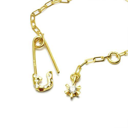 ブレスレット / セーフティピンブレスレット LEOPARD -GOLD×WHITE- レディース ゴールド チェーン 華奢 細め アンクレット 人気 おすすめ ブランド ギフト プレゼント 安全ピン シンプル