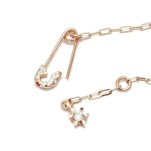 ブレスレット / セーフティピンブレスレット LEOPARD -PINK×WHITE- レディース ピンクゴールド チェーン 華奢 細め アンクレット 人気 おすすめ ブランド ギフト プレゼント 安全ピン シンプル
