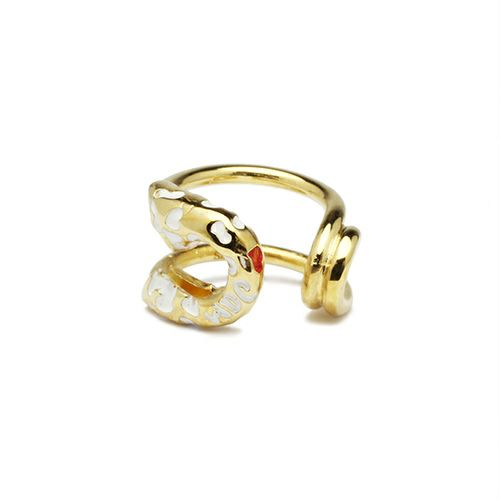 ピアス / セーフティピンイヤーカフ LEOPARD -GOLD×WHITE- レディース ゴールド 安全ピン 片耳 シンプル 人気 おすすめ ブランド プレゼント 誕生日 ギフト