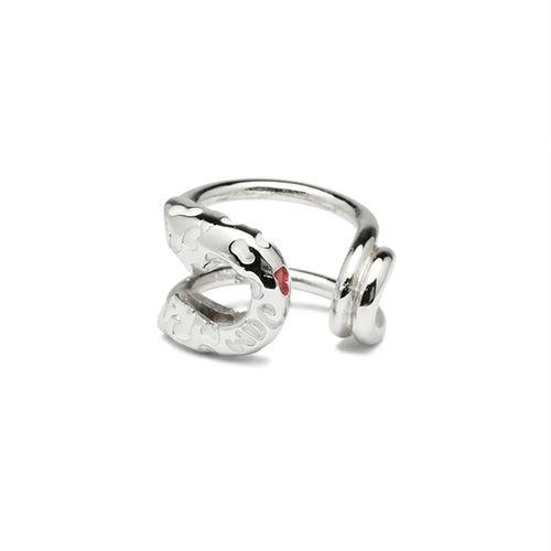 ピアス / セーフティピンイヤーカフ LEOPARD -SILVER×WHITE- レディース シルバー 安全ピン 片耳 シンプル 人気 おすすめ ブランド プレゼント 誕生日 ギフト