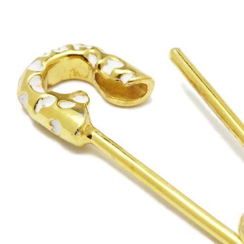 【JAM HOME MADE(ジャムホームメイド)】セーフティピンピアス LEOPARD -GOLD×WHITE- レディース ゴールド 安全ピン 片耳 シンプル 人気 おすすめ ブランド プレゼント 誕生日 ギフト