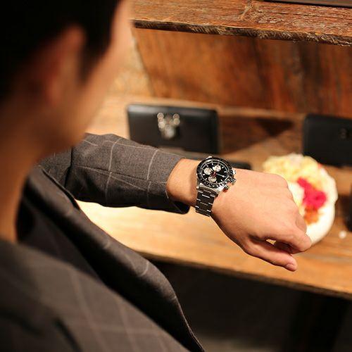 """腕時計 / シークレットミッキー""""MICKEY""""ウォッチ TYPE-1 -SILVER×MONO- メンズ レディース ユニセックス ペア シルバー モノクロ ディズニー 10気圧 アナログ クロノグラフ クォーツ 生活防水 20mm"""
