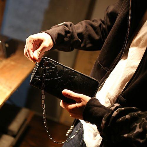 【JAM HOME MADE(ジャムホームメイド)】アベイシングエイプ/A BATHING APE ベイプカモ(BAPE CAMO) ファスナーロングウォレット -SILVER- / 長財布